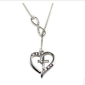 Silver Heart cross infinity necklace